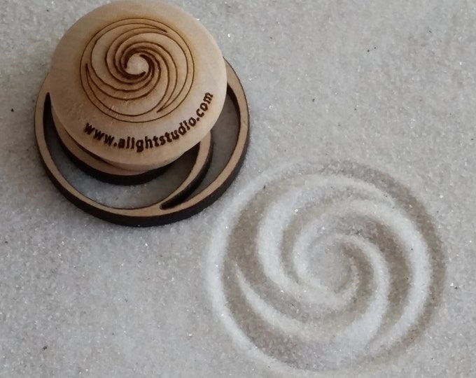 MINI Sand Stamp, Triple Fibonacci Design, Zen Garden Stamp
