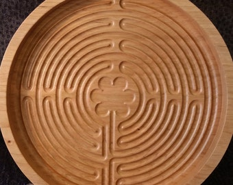 Chartres Labyrinth, Sand Labyrinth, Zen Labyrinth, 8.5 inch Cherry wood, handmade