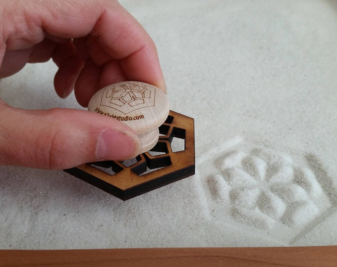 Sand Stamp, Floral Hexagon Design, Zen Garden Stamp