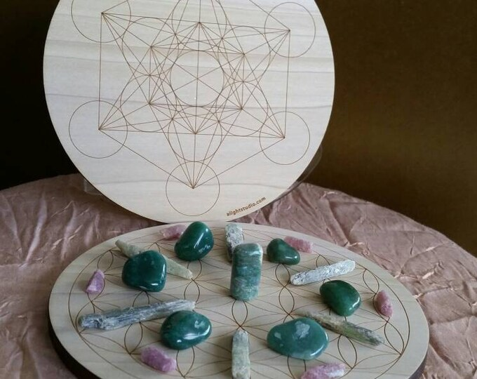 Flower of Life & Metratrons Cube crystal grid board, 7 inch round, solid Poplar wood