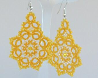 Yellow Lace earrings with beads Tatted earrings Tatting jewellery Handmade  Dangle earrings Boho earrings Yellow lace jewelry
