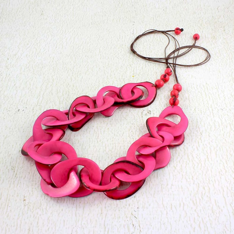 Pink Necklace  Pink Statement Necklace Set made of Tagua  image 0