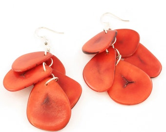 Red Dangle Earrings made from Eco Friendly Tagua Nut from the Rainforest, Funky Back to School Jewelry for Her, Lightweight and Handmade