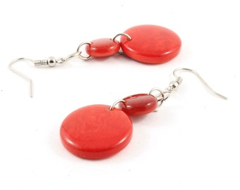 Red Dangle Earrings handmade from Eco Friendly Tagua Nut, Fair Trade Artisan Jewelry for Women, Lightweight Fun for Back to School
