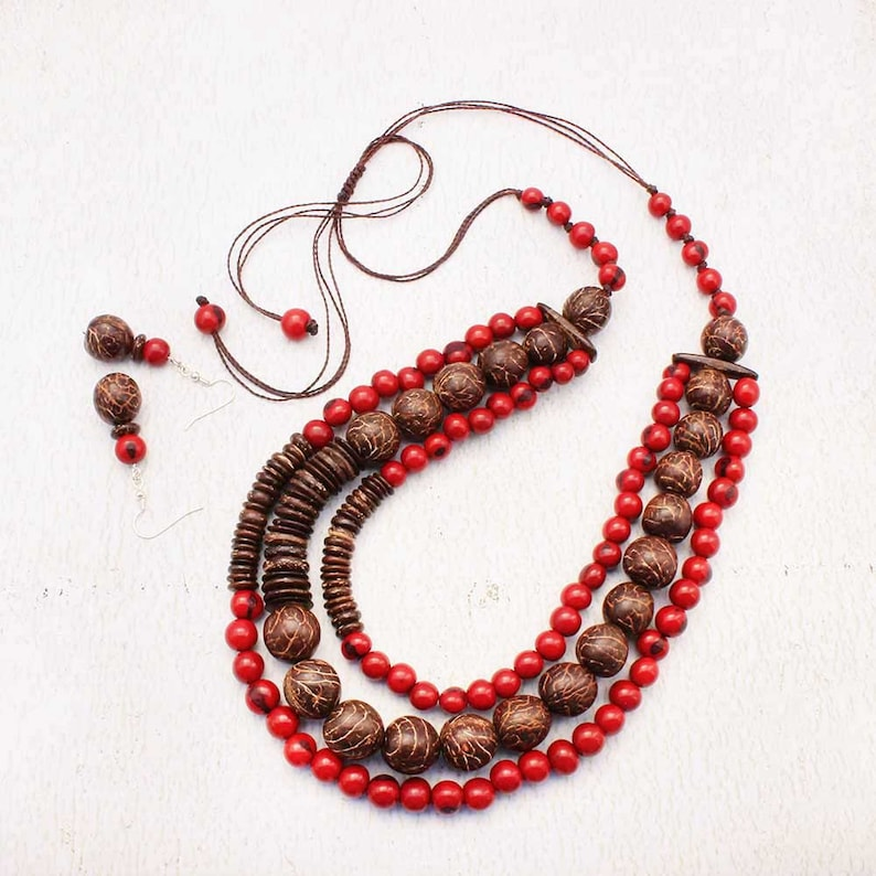 Long Beaded Necklace Set  Red Jewelry  Beach Jewelry  image 0