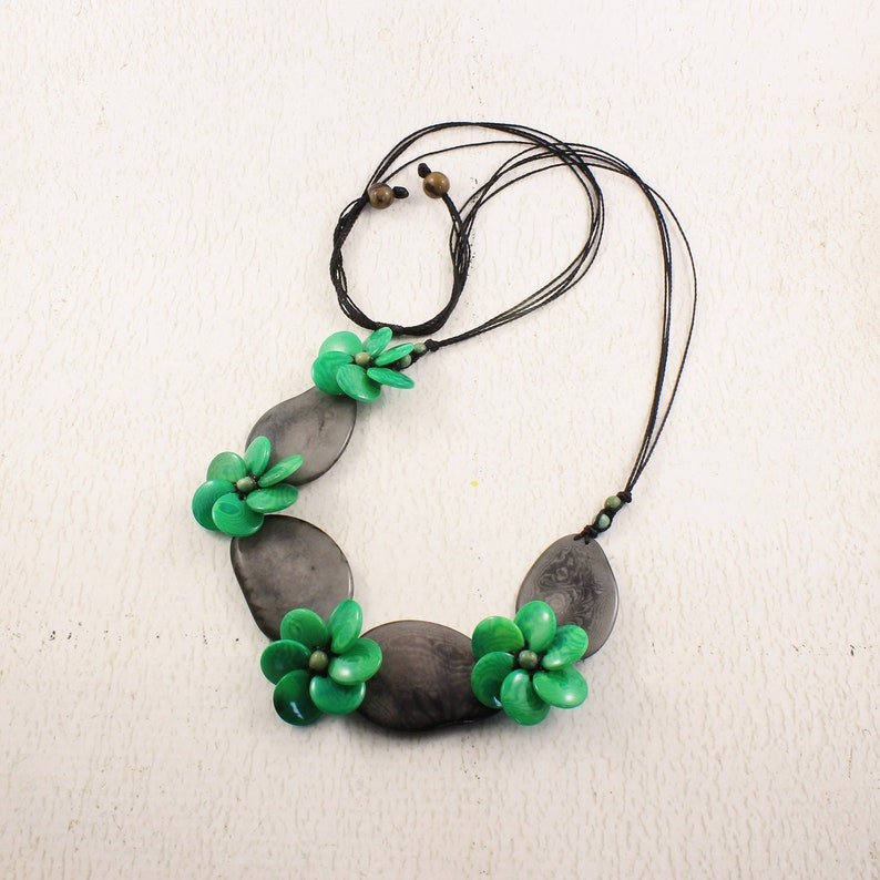 Gray and Green Flower Statement Necklace and Earring Set image 0