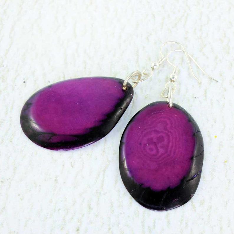 Purple Earrings  Tagua Jewelry  Vegetable Ivory  Statement image 0