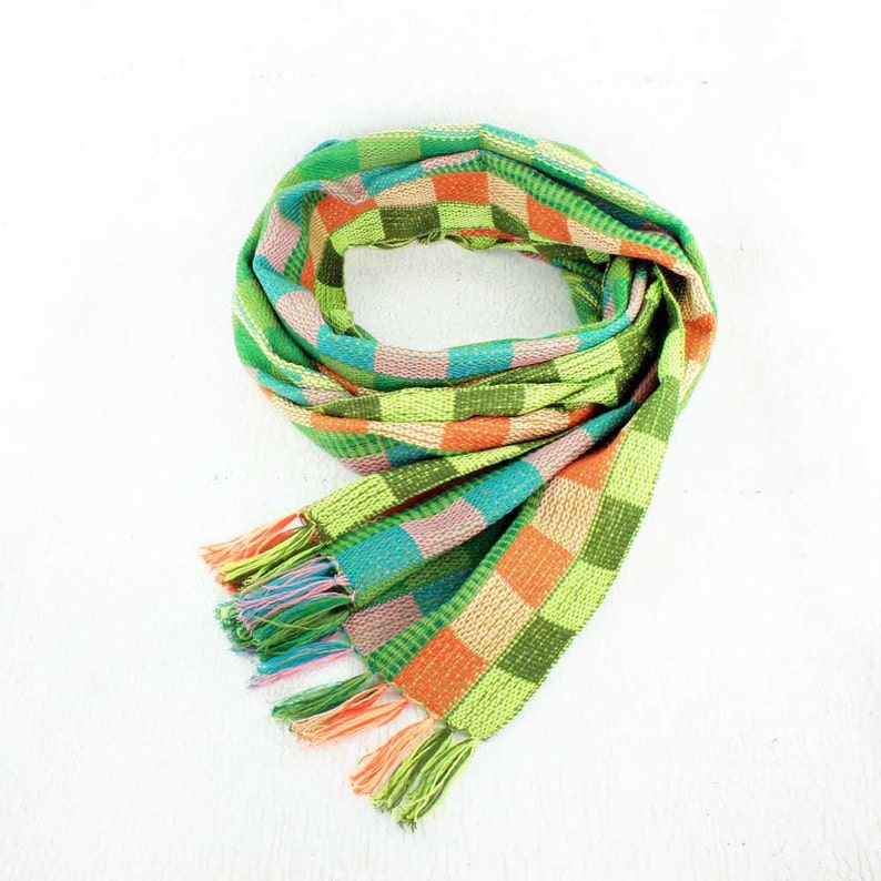 Green Plaid Scarf  Fringe Scarf  Scarves for Women  Womens image 0