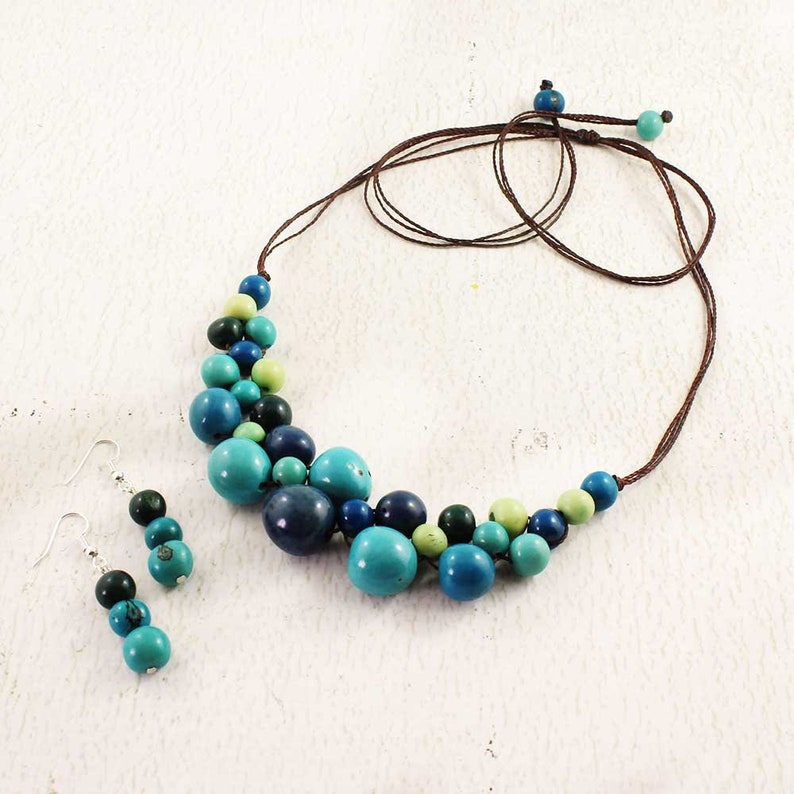 Blue Bead Bubble Necklace  Macrame Jewelry  Chunky Blue and image 0