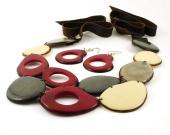 Wine Red Necklace Set with Earrings made of Tagua Nut and Leather with Gray and Ivory Complementary Beads - Chunky Statement Jewelry for Her