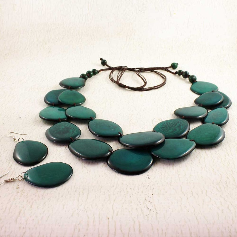 Teal Necklace Set  Statement Necklace of Tagua  Chunky Bold image 0