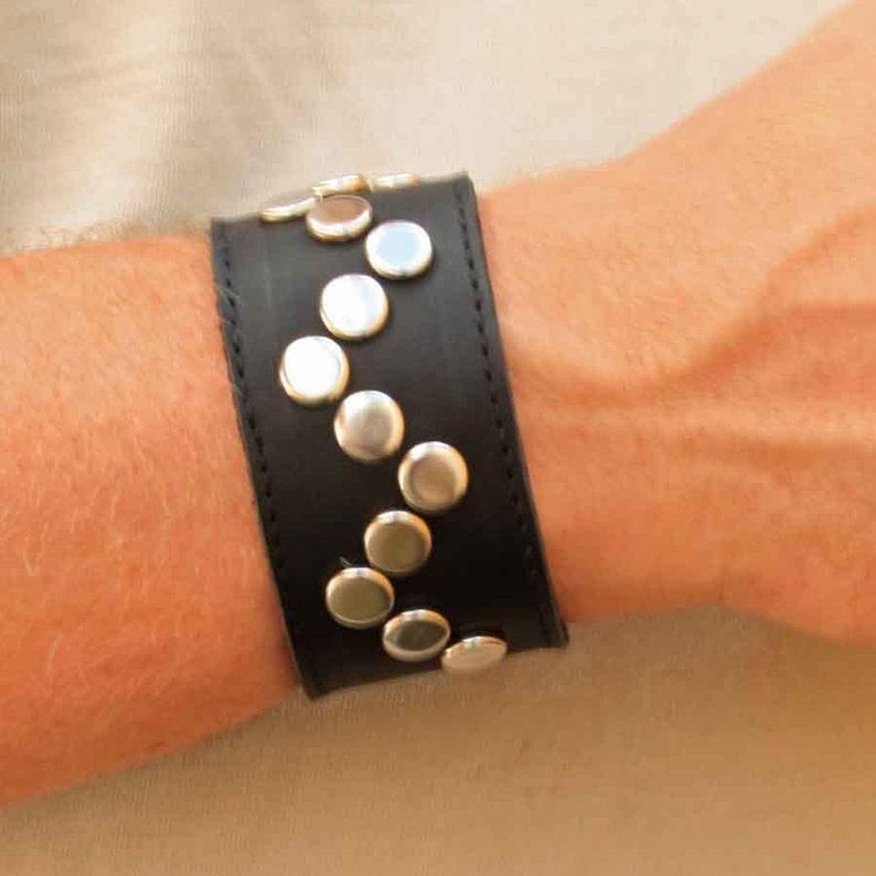 Studded Bracelet for Men  Gift Ideas for Him  Black Leather image 0