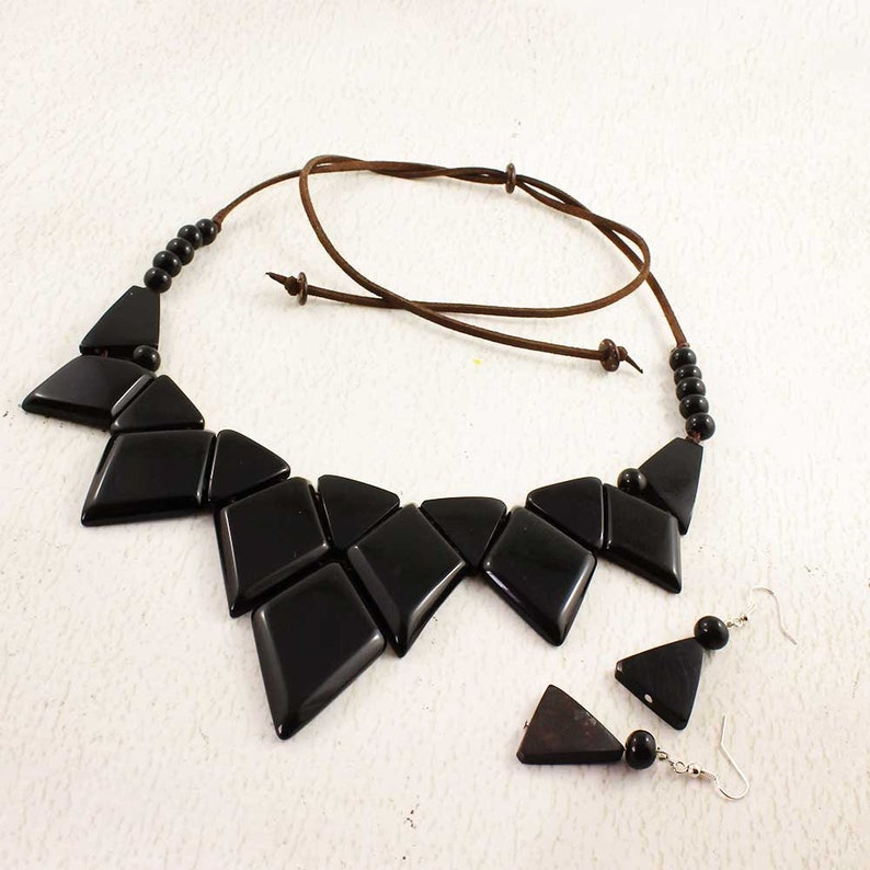 Black Statement Necklace Set made of Tagua Nut  Gift Ideas image 0