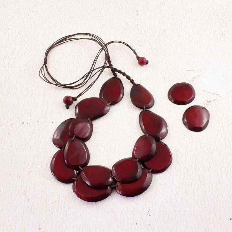 Burgundy Necklace Set  Dark Red Statement Necklace of Tagua  image 0