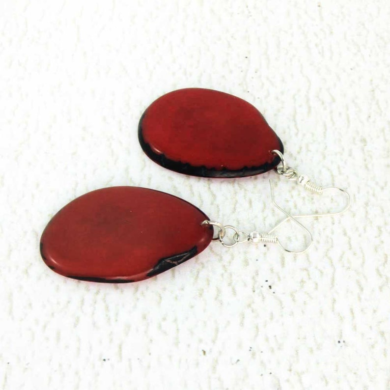 Dark Red Earrings of Tagua Nut  Bold Chunky Earrings  Eco image 0