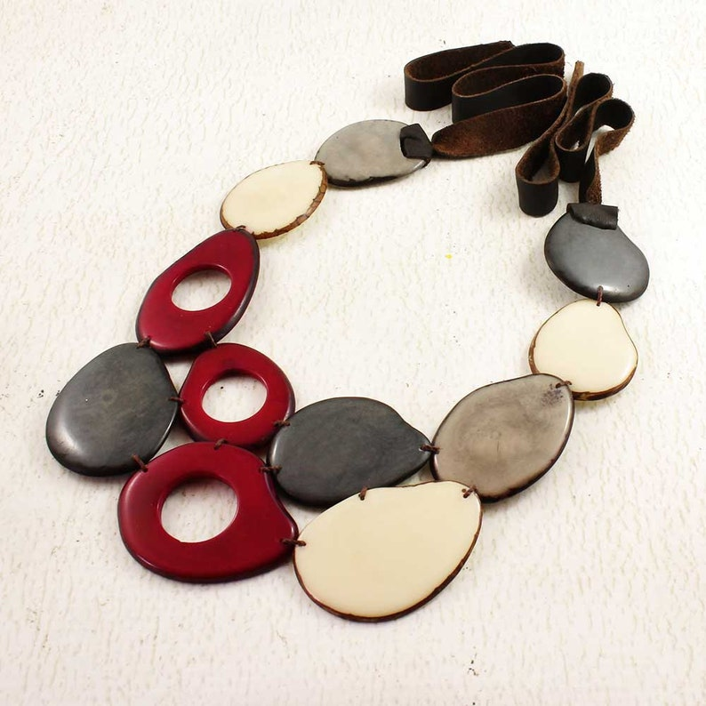 Wine Red Gray and Ivory Necklace Set with Earrings made of image 0