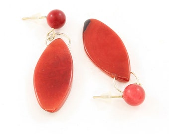 Red Dangle Earrings Handmade from Tagua Nut from the Amazon Rainforest, Fair Trade Eco Friendly Jewelry for Women, Lightweight Fun Size