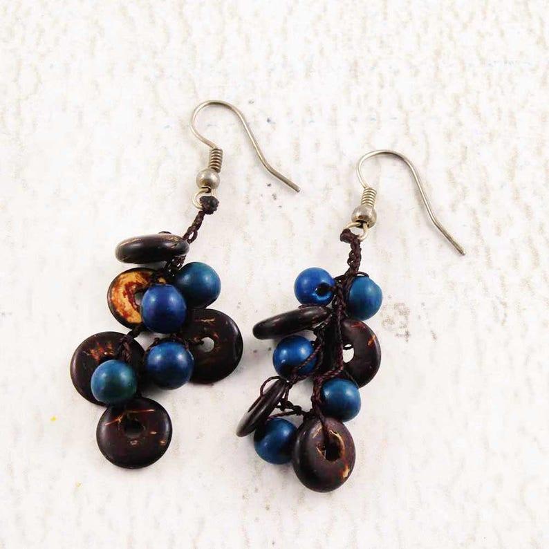 Crochet Earrings  Coconut Earrings  Blue and Brown Earrings image 0