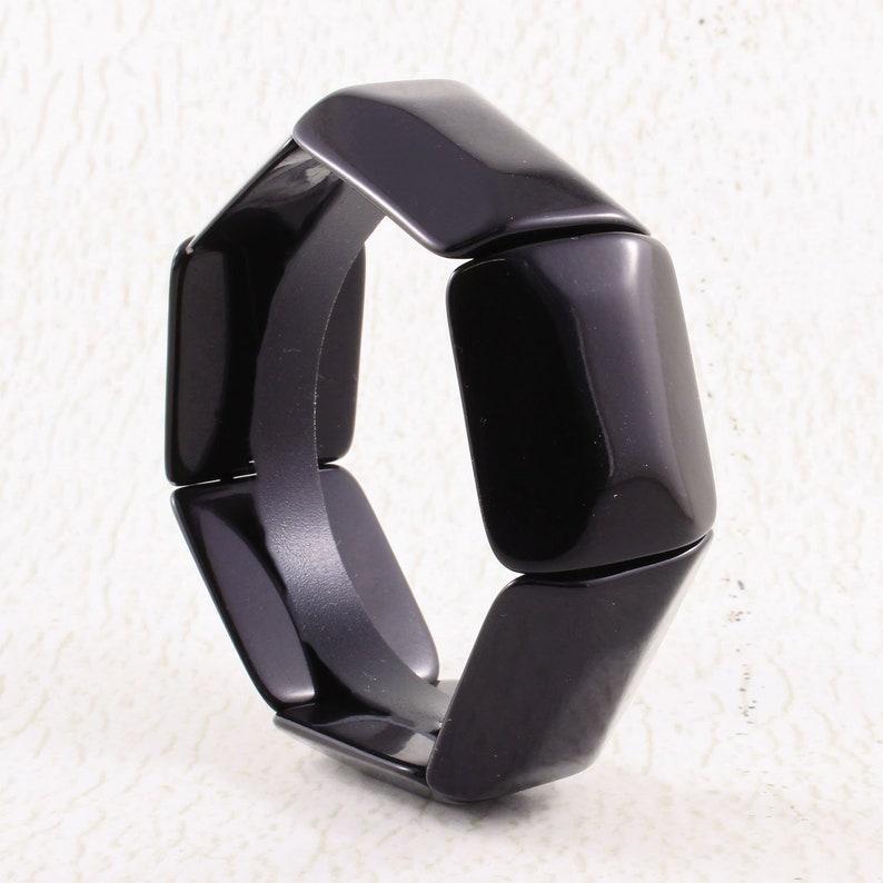 Black Beaded Bracelet with Bevelled Rectangular Tagua Nut image 0
