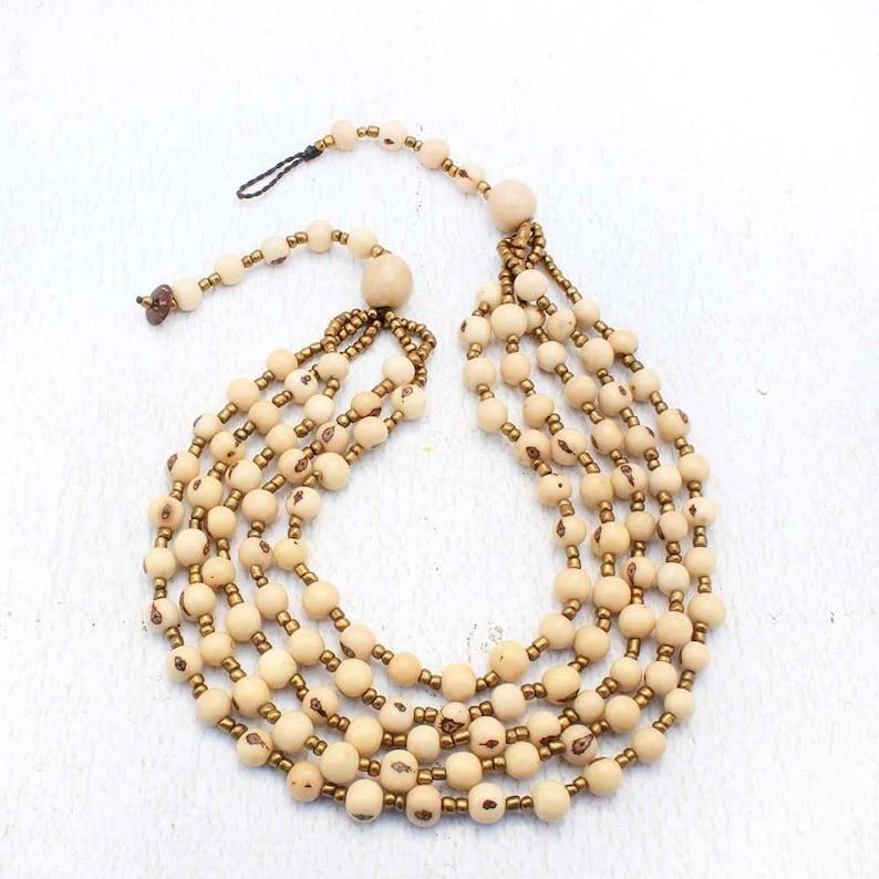 White Multi Strand Beaded Necklace  Ivory Bib Necklace  image 0