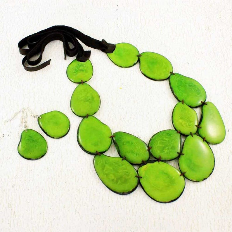 Green Statement Necklace and Earring Set  Lime Bib Necklace  image 0