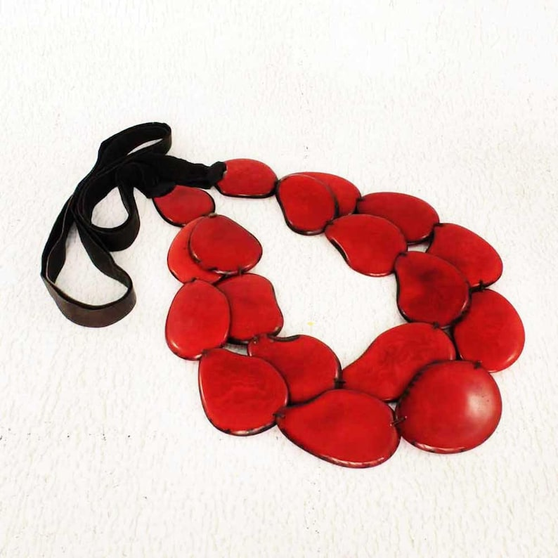 Red Necklace  Statement Necklace of Tagua  Chunky Necklace  image 0