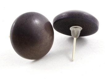 Dark Button Earrings in Pearly Gray made of Tagua Nut, Elegant Post Style, Handmade Fair Trade Jewelry, Lightweight