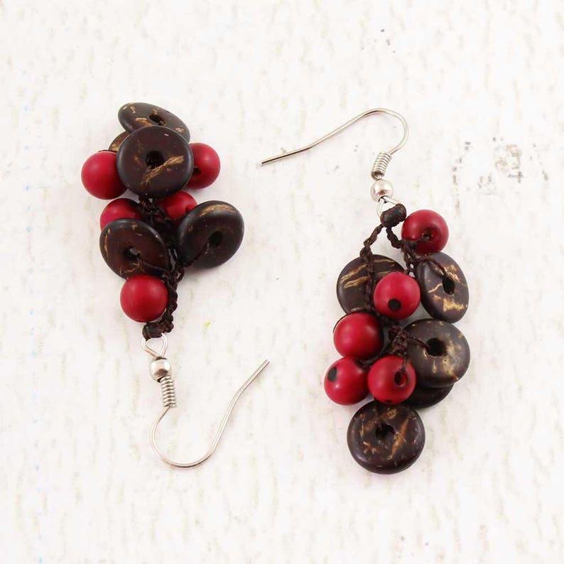 Crochet Earrings  Coconut Earrings  Pink Earrings  Unique image 0
