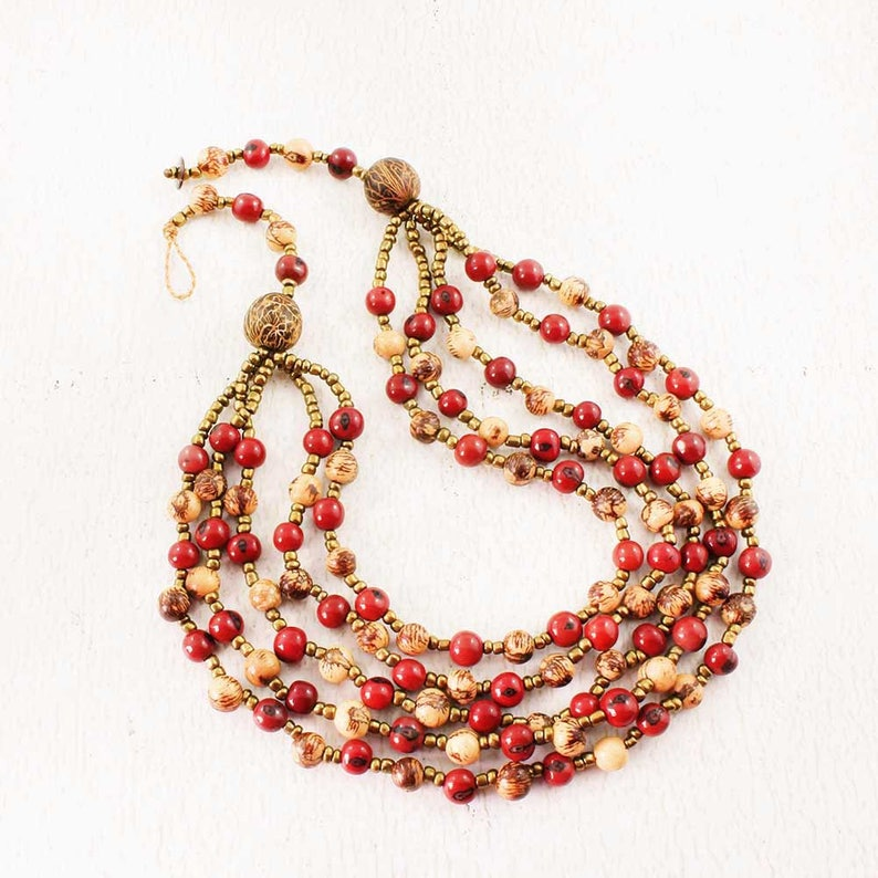 Red Bead Necklace  Multi Strand Beaded Bib Necklace  Natural image 0
