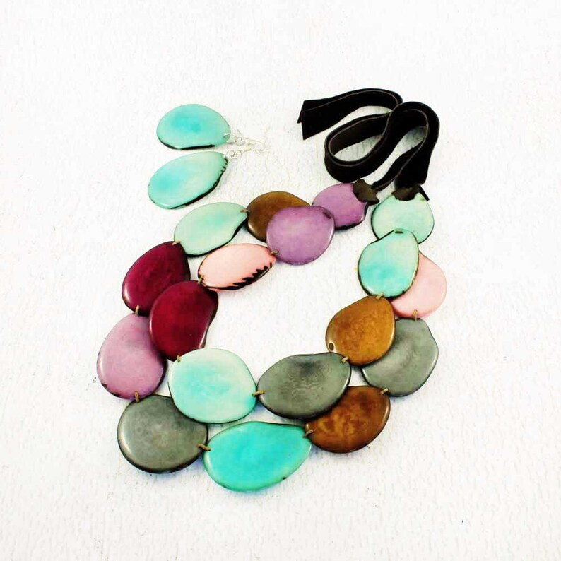 Chunky Necklace Set made of Tagua Nut  Eco Jewelry  Multi image 0