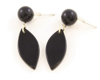 Black Dangling Earrings made of Eco Friendly Tagua Nut, Fair Trade Jewelry for Women, Lightweight for Everyday and Back to School