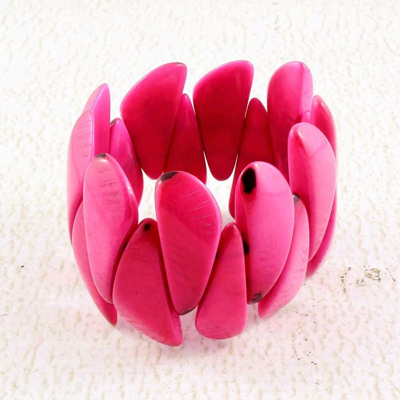 Pink Bracelet made of Tagua  Nut Jewelry  Pink Bangle  Gift image 0