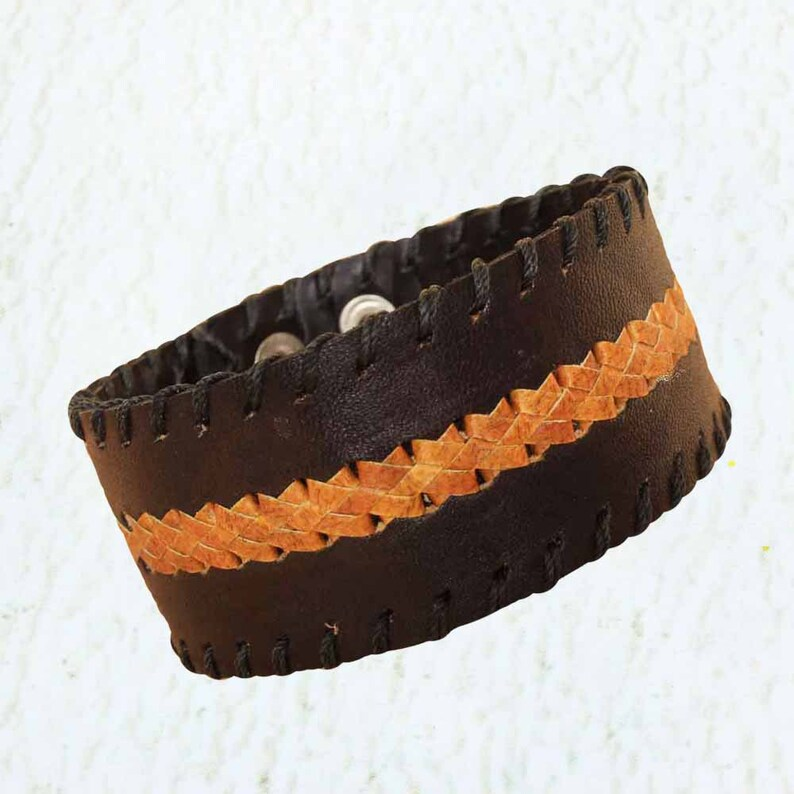 Mens Black Bracelet  Leather Wristband for Men  Gifts for image 0