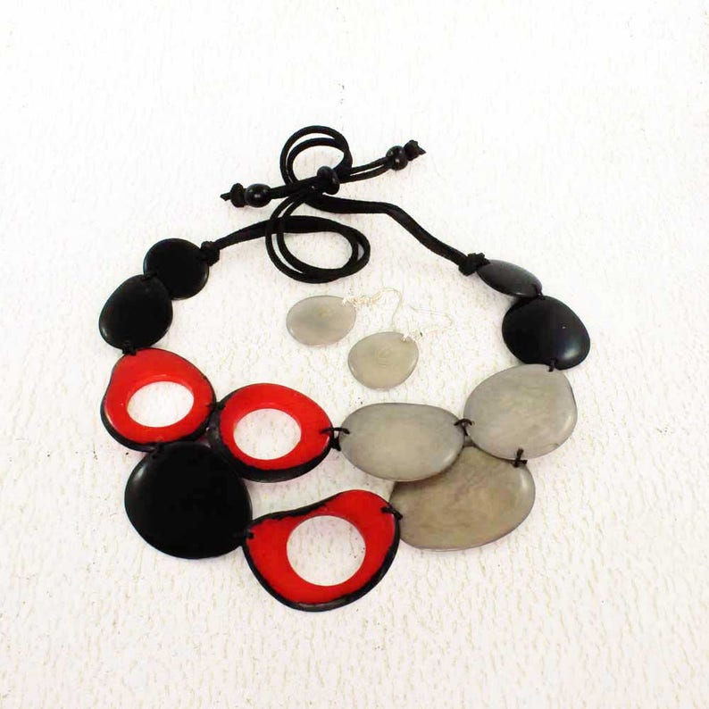 Black and Red Necklace with Grey Earrings  Bead Necklace Set image 0