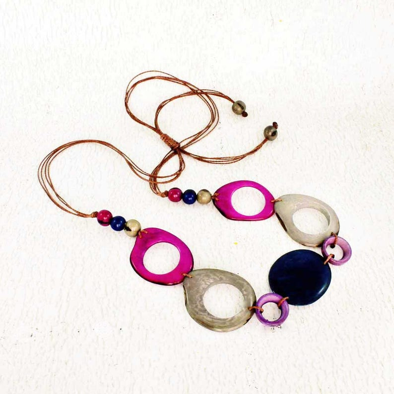 Tagua Necklace for Her  Chunky Bead Necklace  Fair Trade image 0