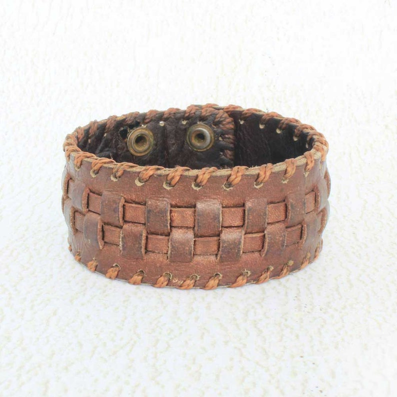 Mens Brown Leather Bracelet  Leather Cuff Bracelet  Perfect image 0