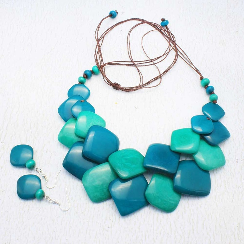 Blue Bead Necklace  Eco Friendly Jewelry made of Tagua Nut  image 0