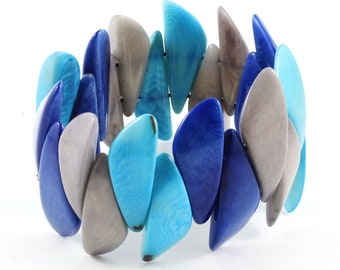 Chunky Tagua Bracelet for Women in Blue and Gray, Handmade and Fair Trade Bangle for Her, Perfect for Back to School Fun