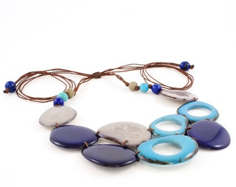 Blue Tagua Necklace with Adjustable Leather Cord, Blue and Gray Statement Bib Jewelry for Women, Fun for Back to School