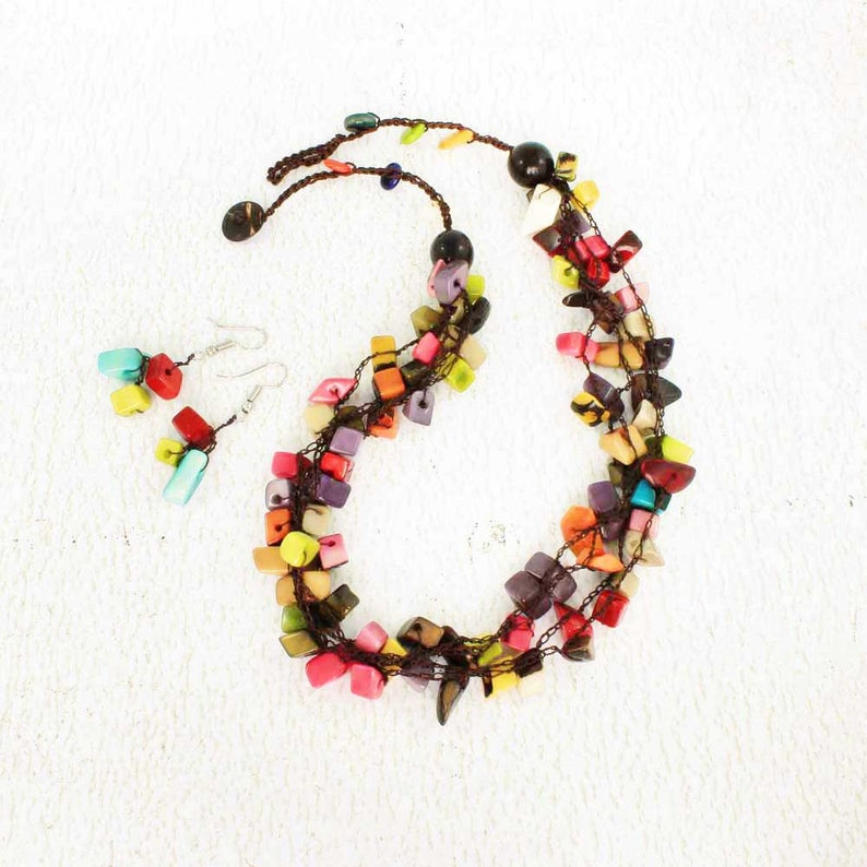 Multi Color Necklace Set Crochet Necklace with Tagua Eco image 0