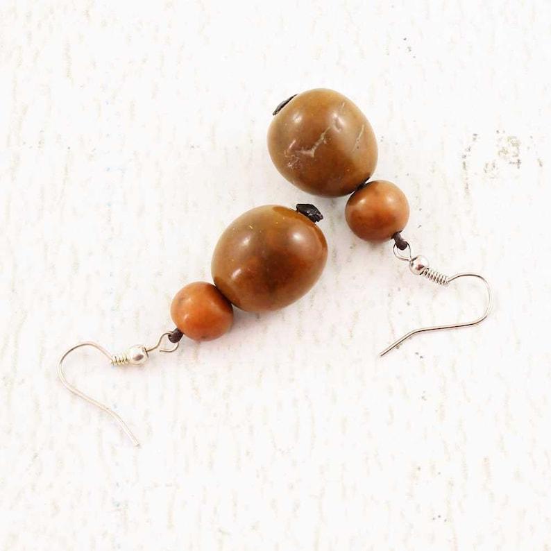 Rustic Earrings  Natural Jewelry  Brown Earings  Acai Beads image 0