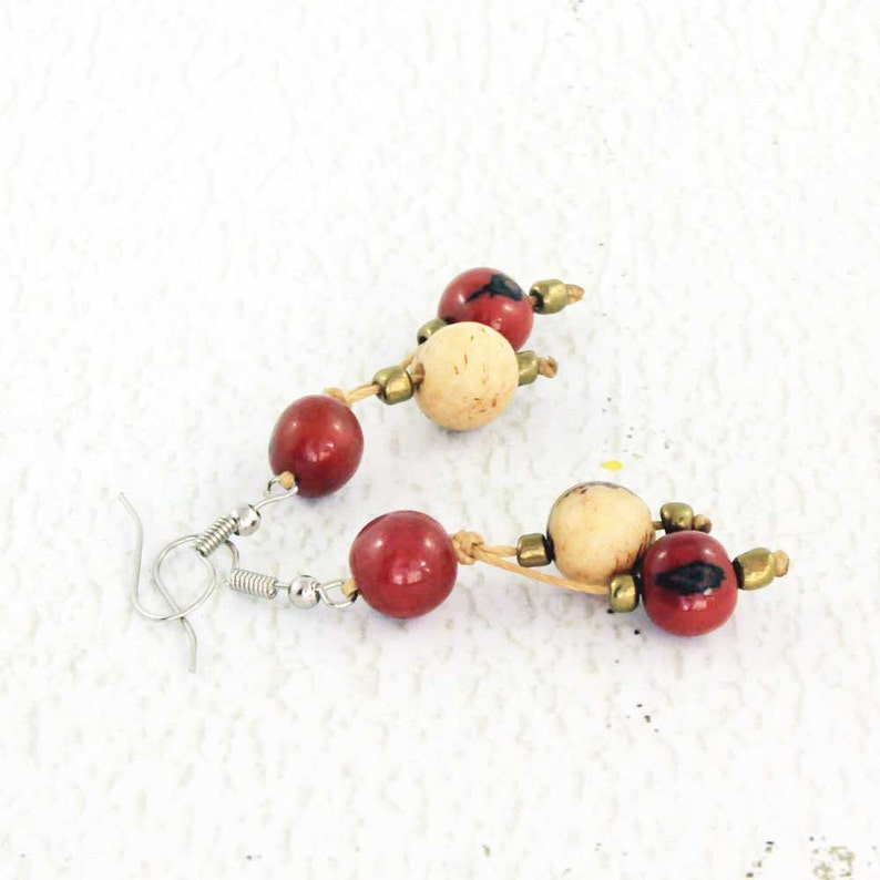 Red Dangle Earrings  Acai Beads  Fair Trade Eco Friendly image 0