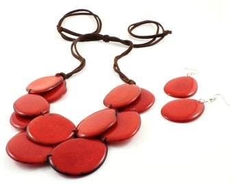 Red Tagua Necklace and Earring Set with Adjustable Leather Cord, Statement Bib Jewelry for Women