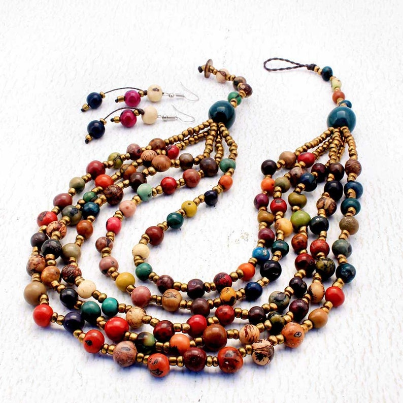 Statement Necklace with Multi Strands Colorful Bead Necklace image 0