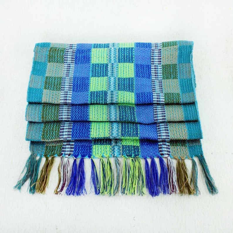 Green Plaid Scarf  Blue Plaid Scarf  Handwoven Scarf  image 0