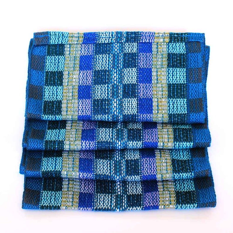 Blue Plaid Scarf  Handwoven Scarf  Cotton Infinity Scarf  image 0