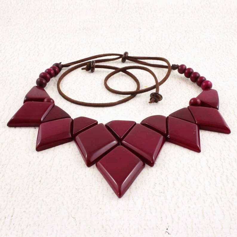 Purple Statement Necklace Set made of Tagua Nut  Gift Ideas image 0
