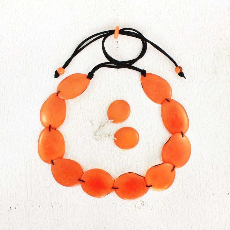 Orange Necklace Set made of Tagua Nut  Chunky Bead Necklace  image 0