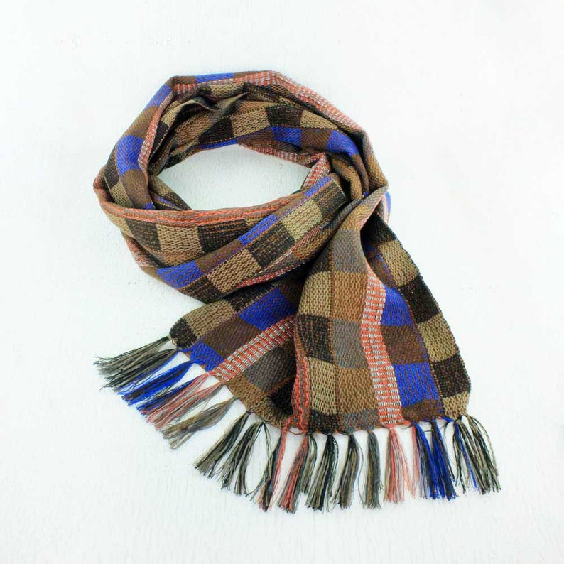 Brown Plaid Scarf with Blue  Womens Plaid Scarf  Handwoven image 0