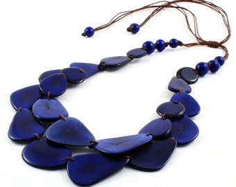 Classic Blue Necklace with Adjustable Cord and Two Strands of Eco Friendly Tagua Nut, Statement Bib Jewelry for Women and Girls